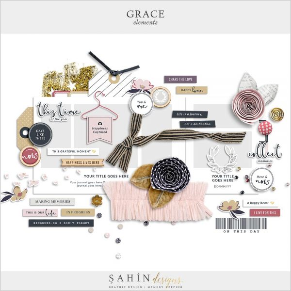 Grace Digital Scrapbook Elements | Sahin Designs
