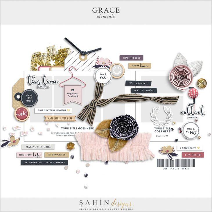 Grace Digital Scrapbook Elements   Sahin Designs