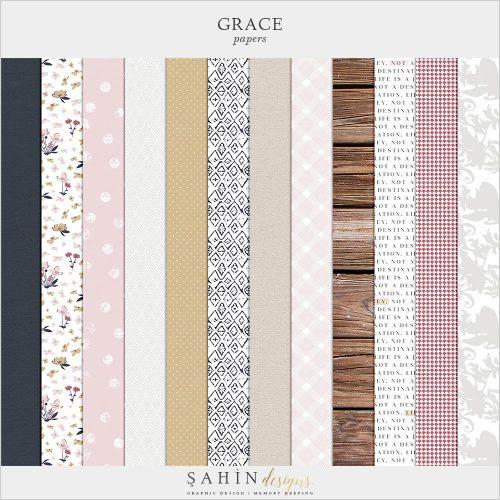 Grace Digital Scrapbook Papers | Sahin Designs | Digital Patterns