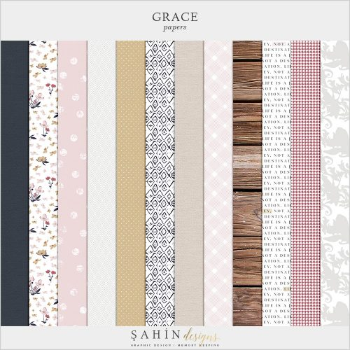 Grace Digital Scrapbook Papers | Sahin Designs | Digital Patterns