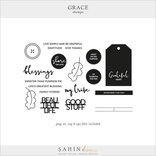 Grace Digital Scrapbook Stamps & Cut Files | Sahin Designs