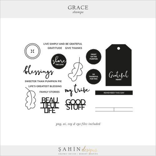 Grace Digital Scrapbook Stamps & Cut Files | Sahin Designs