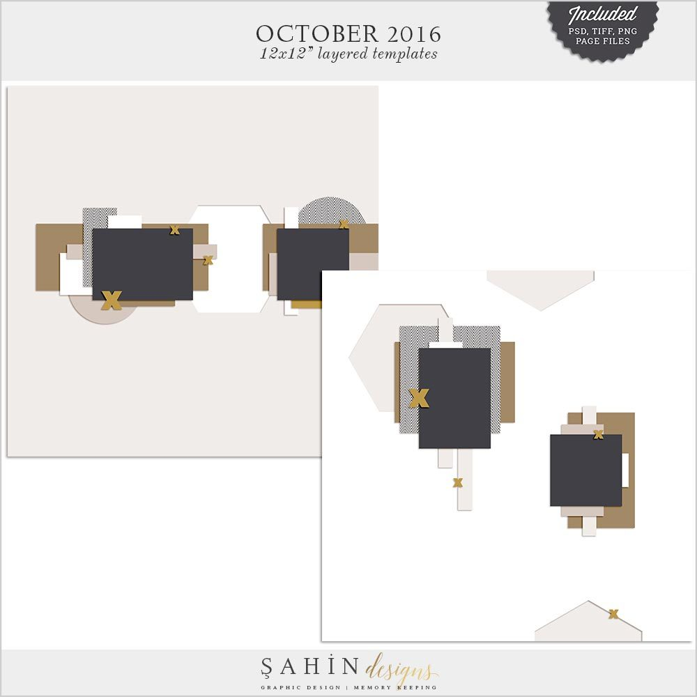 Digital Scrapbook Layout Template / Sketch   Sahin Designs   October 2016
