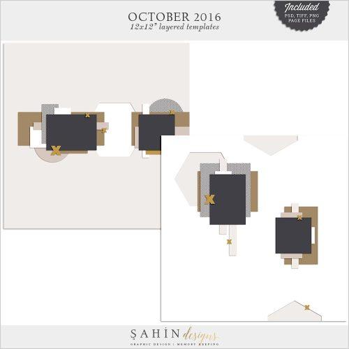 Digital Scrapbook Layout Template / Sketch | Sahin Designs | October 2016