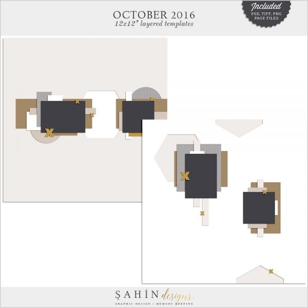 Digital Scrapbook Layout Template / Sketch | Sahin Designs | October 2016