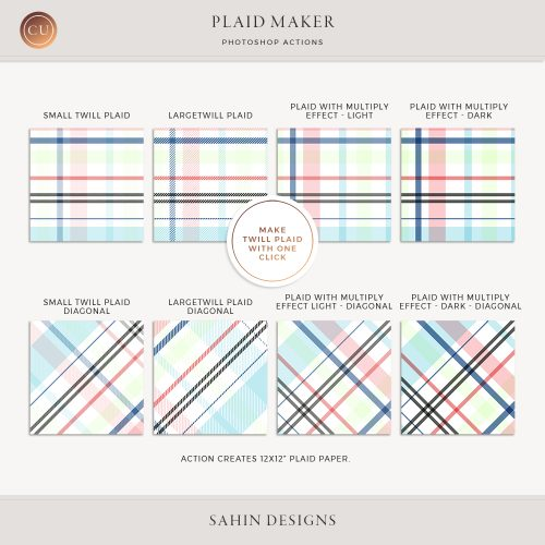 Photoshop Plaid Maker Action | Twill Plaid | CU Scrapbook | Sahin Designs