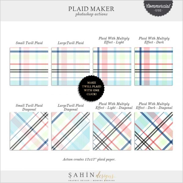 Photoshop Plaid Maker Action | Twill Plaid | CU Scrapbook | Sahin Designs