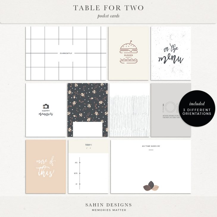 Table for Two Digital Scrapbook Printable Pocket Cards | Sahin Designs