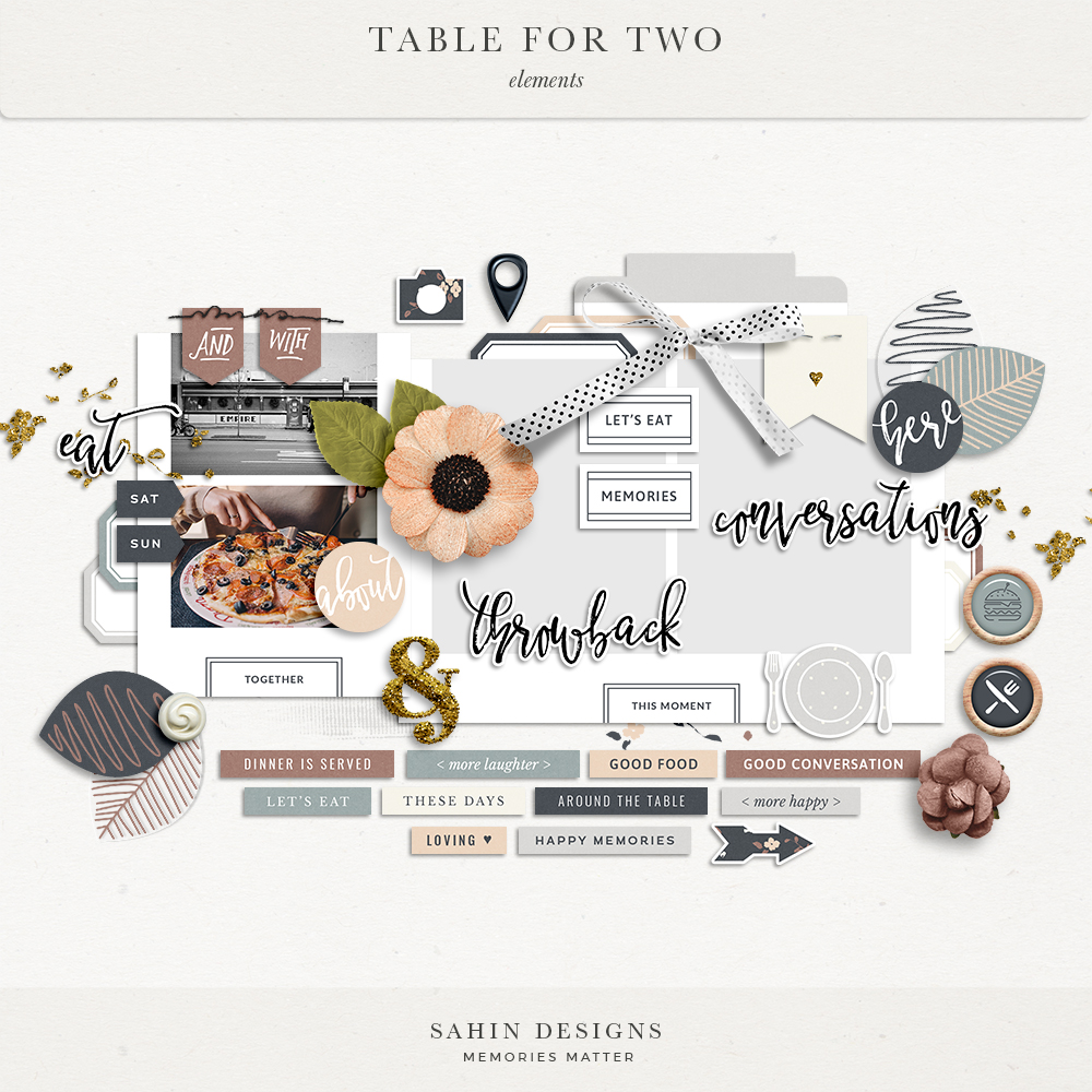 Table for Two Digital Scrapbook Elements | Sahin Designs