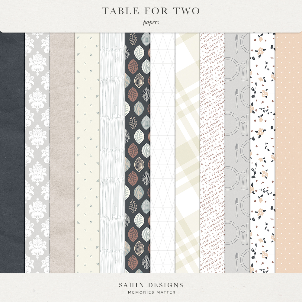 Table for Two Digital Scrapbook Papers | Sahin Designs