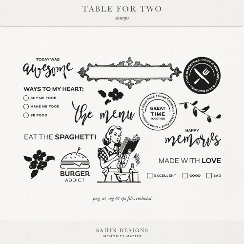 Table for Two Digital Scrapbook Stamps | Sahin Designs