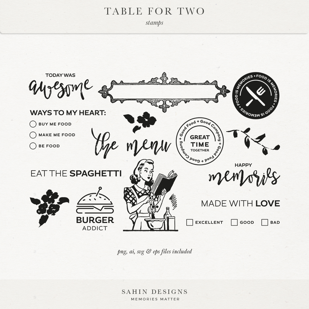Table for Two Digital Scrapbook Stamps   Sahin Designs