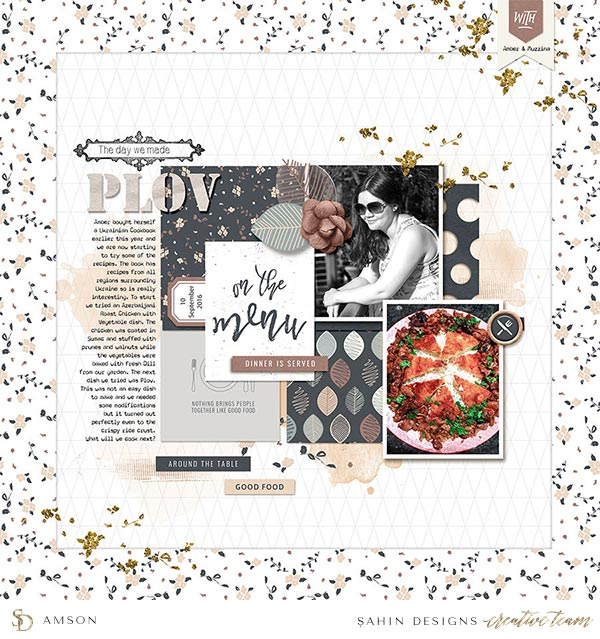 Scrapbook Layout Inspiration | Digital Scrapbook | Sahin Designs | Table for Two Collection