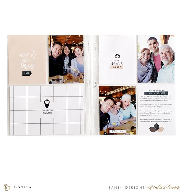 Scrapbook Layout Inspiration | Pocket Scrapbook | Sahin Designs | Table for Two Collection