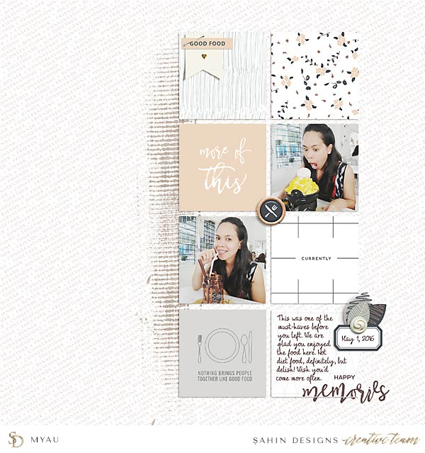 Scrapbook Layout Inspiration   Digital Scrapbook   Sahin Designs   Table for Two Collection