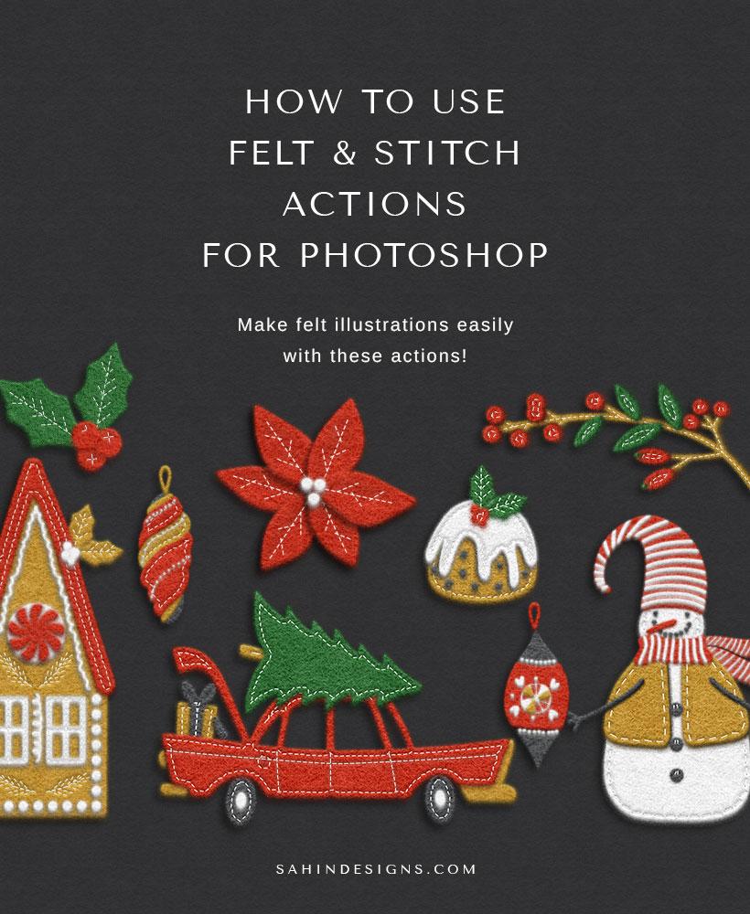 How to use Felt & Stitch Photoshop Actions | Sahin Designs | CU Digital Scrapbook