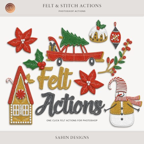 Photoshop Felt & Stitch Actions | Sahin Designs | CU Digital Scrapbook
