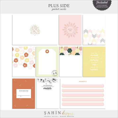 Plus Side Digital Scrapbook Pocket Cards - Sahin Designs - Project Life
