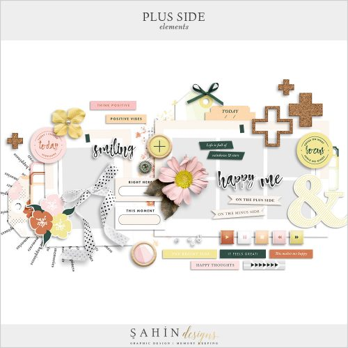 Plus Side Digital Scrapbook Elements Pack - Sahin Designs