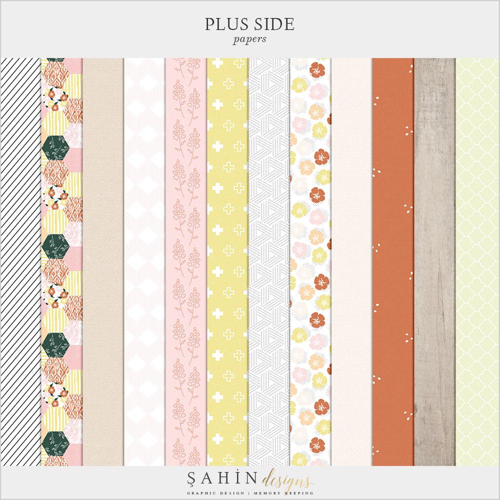 Plus Side Digital Scrapbook Papers - Sahin Designs - Digital Pattern
