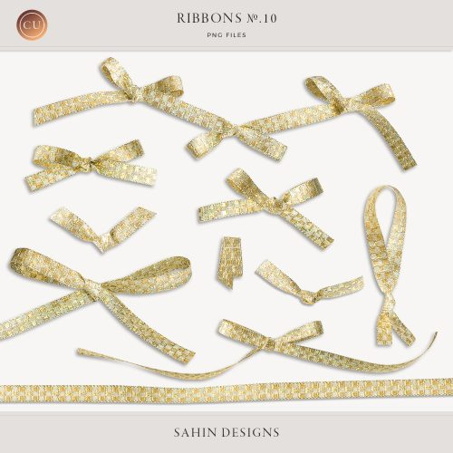Extracted Glittery Gold Ribbons - CU Digital Scrapbook - Sahin Designs