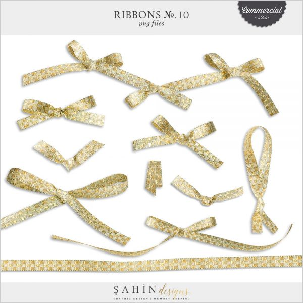 Extracted Gold Ribbons | Sahin Designs | CU Digital Scrapbook
