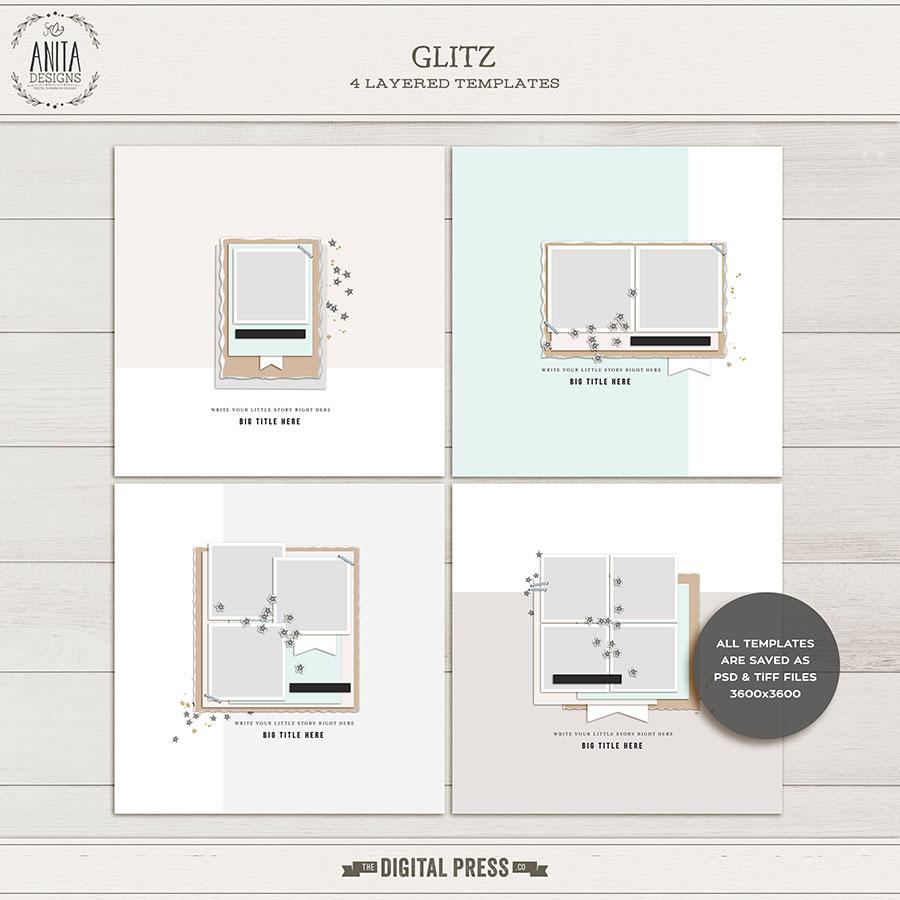 Glitz Digital Scrapbook Layout Templates - New Year Theme - Sahin Designs