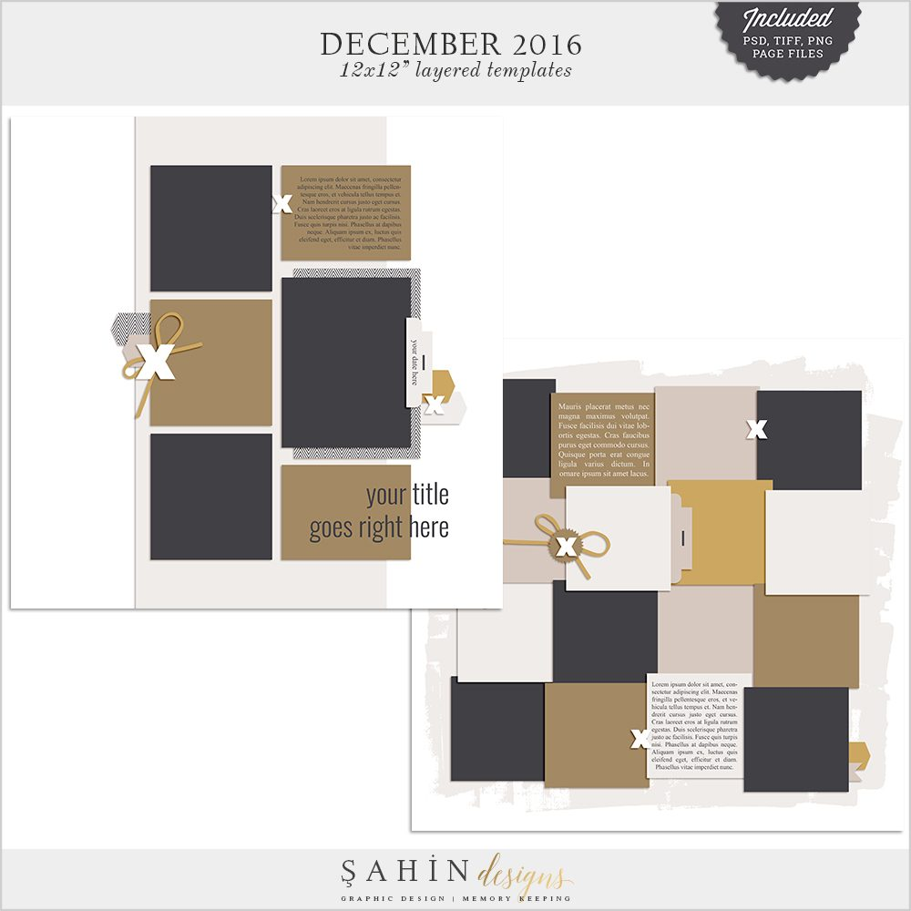 December 2016 Digital Scrapbook Layout Templates / Sketch - Sahin Designs