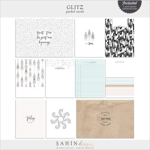 Glitz Digital Scrapbook Pocket Cards - New Year Theme - Sahin Designs