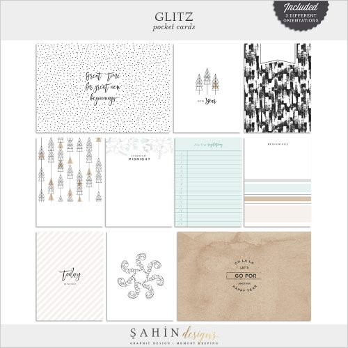 Glitz Digital Scrapbook Pocket Cards - New Year Theme - Sahin Designs