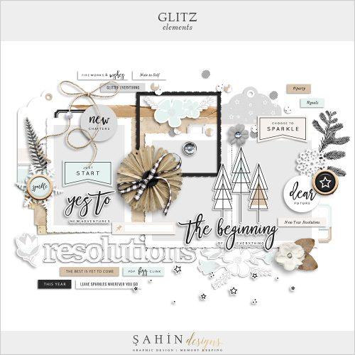 Glitz Digital Scrapbook Elements - New Year Theme - Sahin Designs