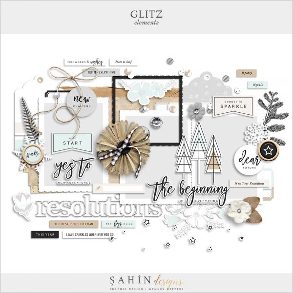 Glitz Digital Scrapbook Elements - New Year Theme - Sahin Designs