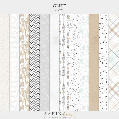 Glitz Digital Scrapbook Papers - New Year Theme - Sahin Designs