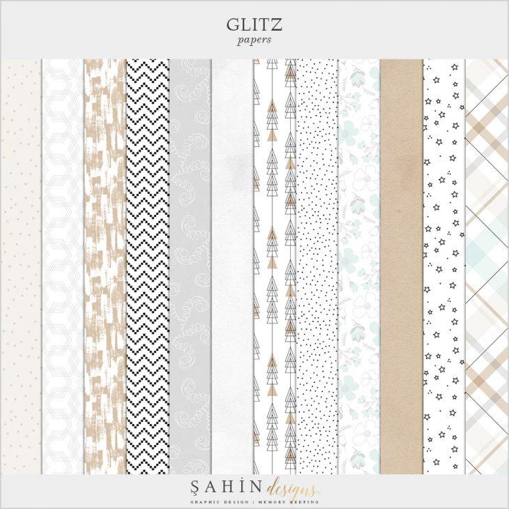 Glitz Digital Scrapbook Papers - New Year Theme - Sahin Designs