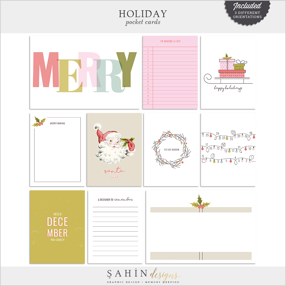 holiday digital pocket cards kit sahin designs printable