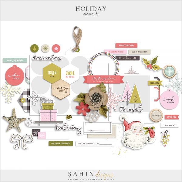 Holiday Digital Scrapbook Elements Kit - Sahin Designs