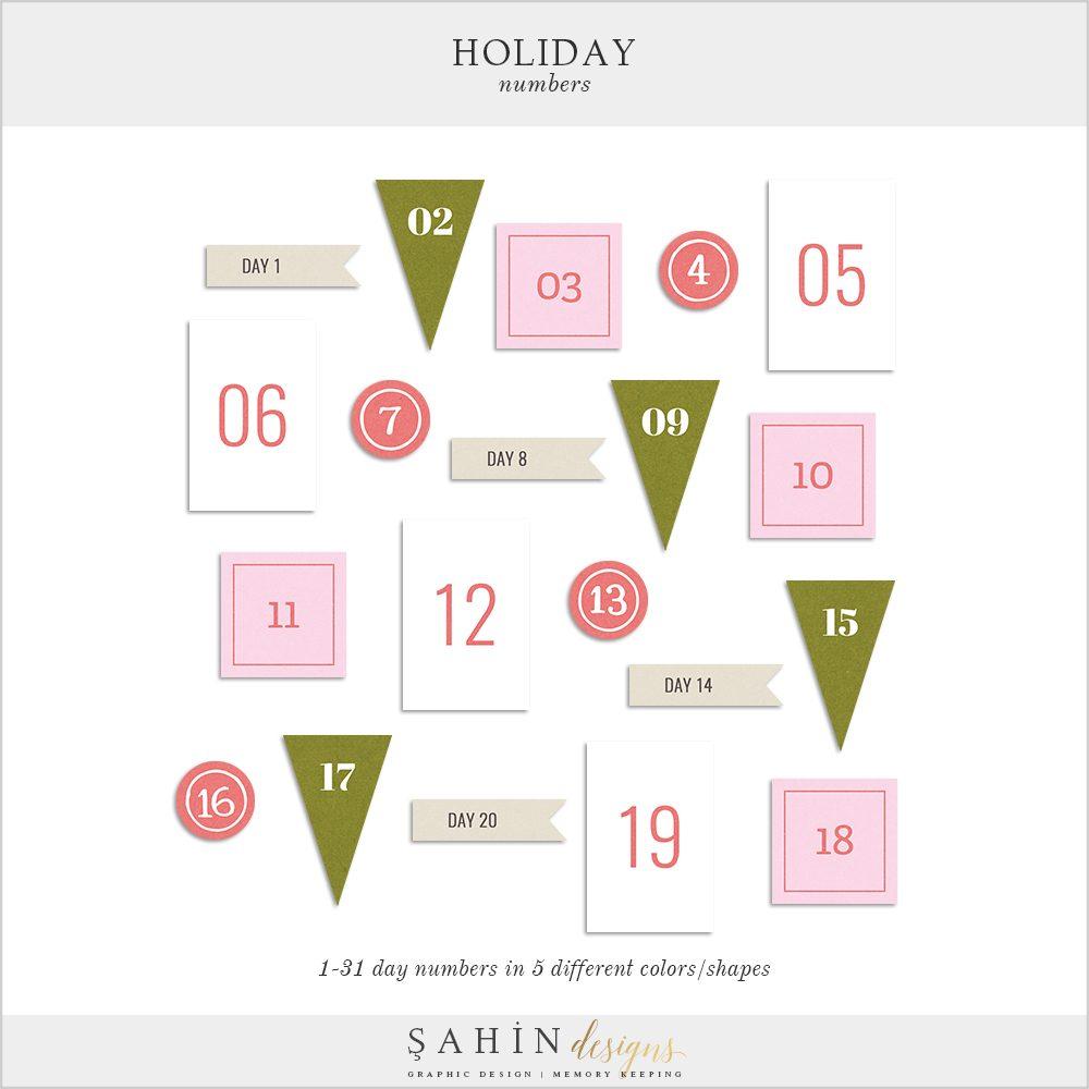 Holiday Digital Scrapbooking Printable Numbers - Sahin Designs -