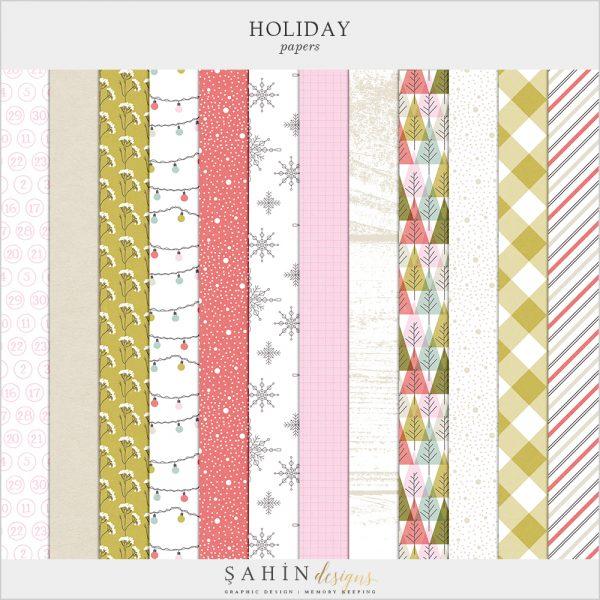Holiday Digital Scrapbook Papers Kit - Sahin Designs - Digital Pattern