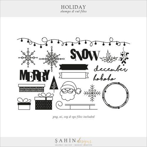 Holiday Digital Stamps and Cut Files - Sahin Designs - Digital Scrapbooking