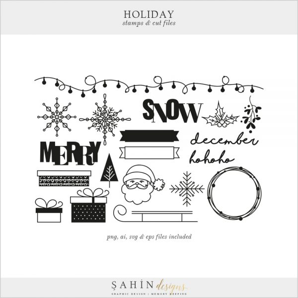 Holiday Digital Stamps and Cut Files - Sahin Designs - Digital Scrapbooking