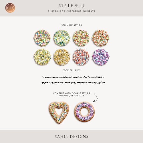 Sprinkle Sugar Photoshop Layer Styles - Sahin Designs - CU Digital Scrapbook