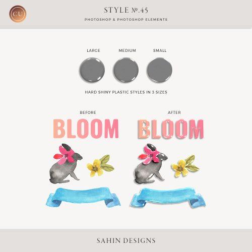 Hard Plastic Photoshop Layer Styles - Sahin Designs - CU Digital Scrapbook