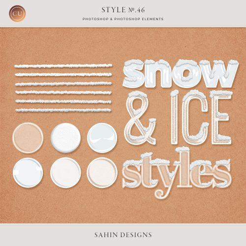 Ice-Snow Photoshop Layer Styles - Sahin Designs - CU Digital Scrapbook