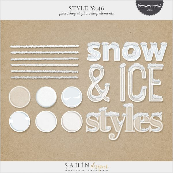Ice-Snow Photoshop Layer Styles - Sahin Designs - CU Digital Scrapbook