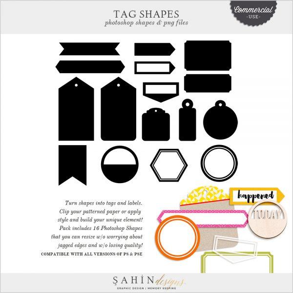 Tag & Label Photoshop Custom Shapes - Sahin Designs - CU Digital Scrapbook