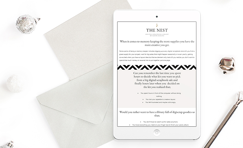 Sahin Designs - Digital Scrapbook Library Memberships - The Nest