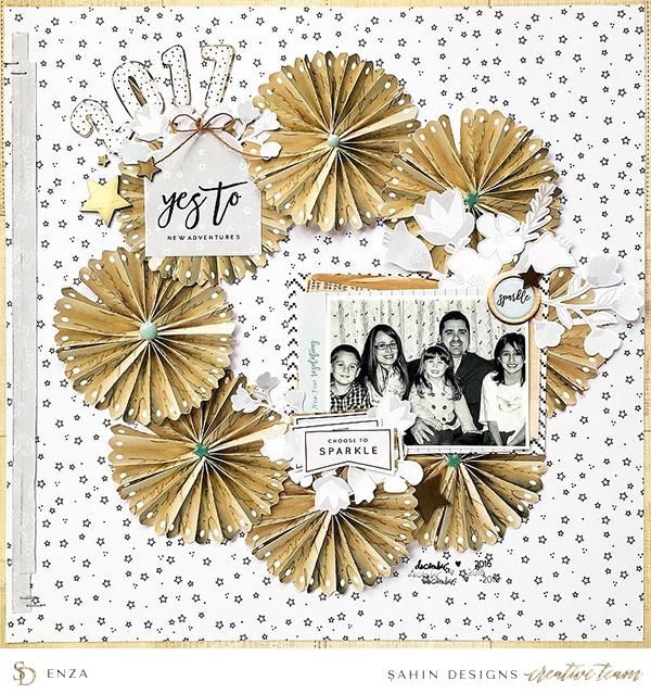 New Year scrapbook layout inspiration - Sahin Designs