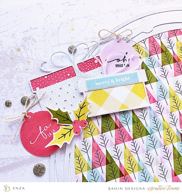 Christmas Hybrid Scrapbook Layout Idea - Sahin Designs