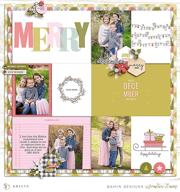 Christmas Digital Scrapbook Layout Idea - Sahin Designs