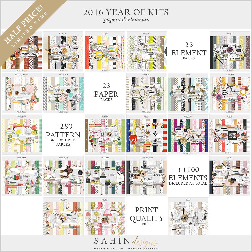 2016 Digital Scrapbook Kits Bundle - Sahin Designs